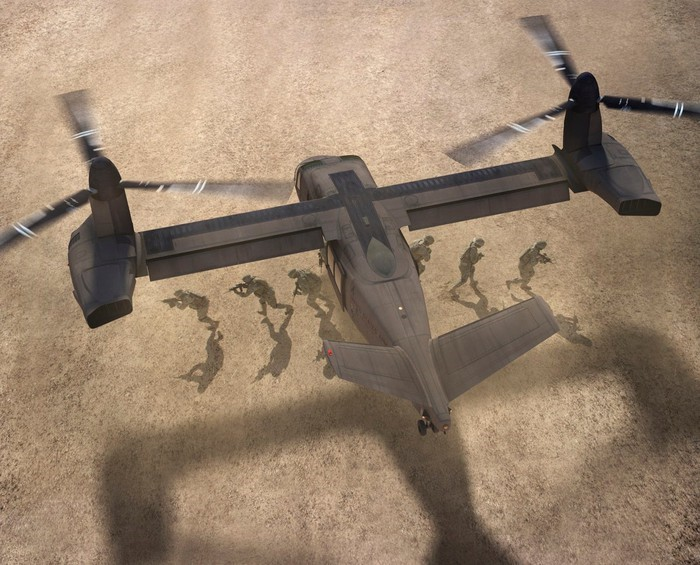 The V-280 shown dropping troops off in a battle zone.